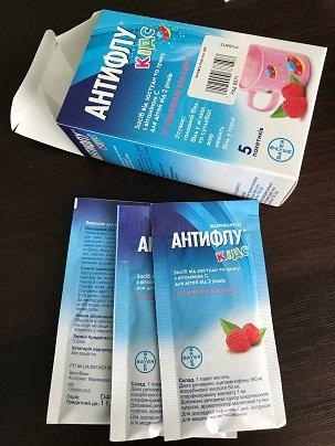 Порошок Антифлу Кидс для лечения простуды, гриппа у детей